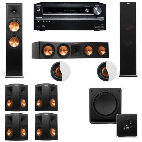 Dolby Atmos 7.1.2 Klipsch RP-280F Tower Speakers SW-112 with Onkyo TX-NR838