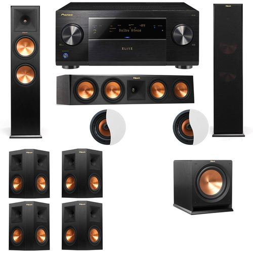 Dolby Atmos 7.1.2 Klipsch RP-280F Tower Speakers R112SW with Pioneer Elite SC-85