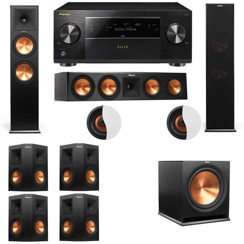Dolby Atmos 7.1.2 Klipsch RP-280F Tower Speakers R115SW with Pioneer Elite SC-85