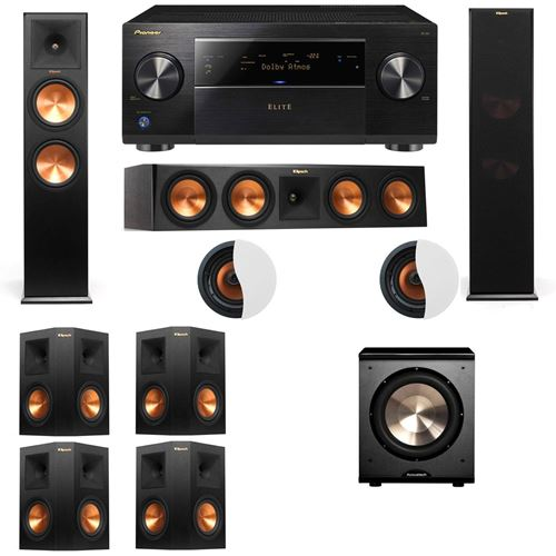 Dolby Atmos 7.1.2 Klipsch RP-280F Tower Speakers PL-200 with Pioneer Elite SC-85