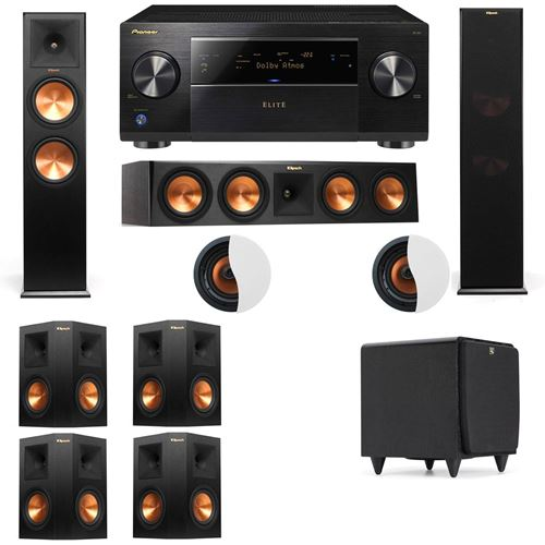 Dolby Atmos 7.1.2 Klipsch RP-280F Tower Speakers SDS12 with Pioneer Elite SC-85