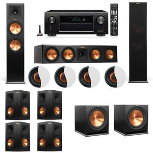 Dolby Atmos 7.2.4 Klipsch RP-280F Tower Speakers R115SW with Denon AVR-X3200W