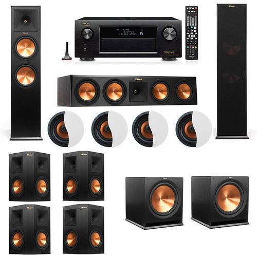 Dolby Atmos 7.2.4 Klipsch RP-280F Tower Speakers R115SW with Denon AVR-X4100W