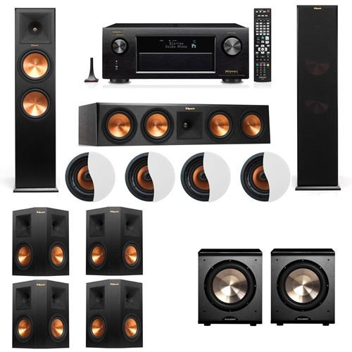 Dolby Atmos 7.2.4 Klipsch RP-280F Tower Speakers PL-200 with Denon AVR-X4100W