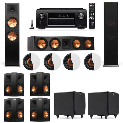 Dolby Atmos 7.2.4 Klipsch RP-280F Tower Speakers SDS12 with Denon AVR-X4100W