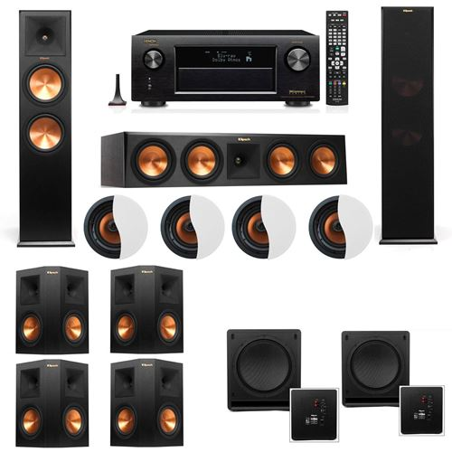 Dolby Atmos 7.2.4 Klipsch RP-280F Tower Speakers SW-112 with Denon AVR-X4100W