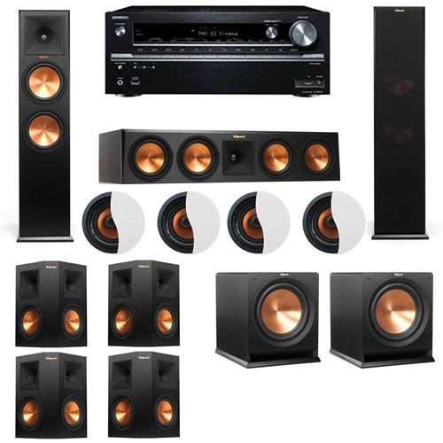 Dolby Atmos 7.2.4 Klipsch RP-280F Tower Speakers R112SW with Onkyo TX-NR838