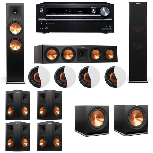 Dolby Atmos 7.2.4 Klipsch RP-280F Tower Speakers R115SW with Onkyo TX-NR838