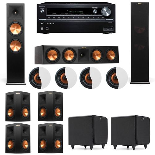 Dolby Atmos 7.2.4 Klipsch RP-280F Tower Speakers SDS12 with Onkyo TX-NR838