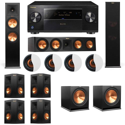 Dolby Atmos 7.2.4 Klipsch RP-280F Tower Speakers R115SW with Pioneer Elite SC-85