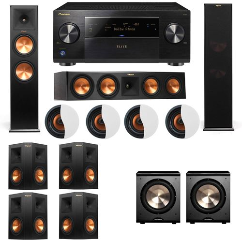 Dolby Atmos 7.2.4 Klipsch RP-280F Tower Speakers PL-200 with Pioneer Elite SC-85