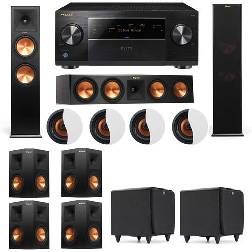 Dolby Atmos 7.2.4 Klipsch RP-280F Tower Speakers SDS12 with Pioneer Elite SC-85