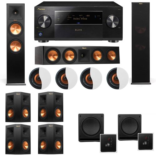 Dolby Atmos 7.2.4 Klipsch RP-280F Tower Speakers SW-112 with Pioneer Elite SC-85