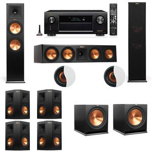 Dolby Atmos 7.2.2 Klipsch RP-280F Tower Speakers R115SW with Denon AVR-X3200W