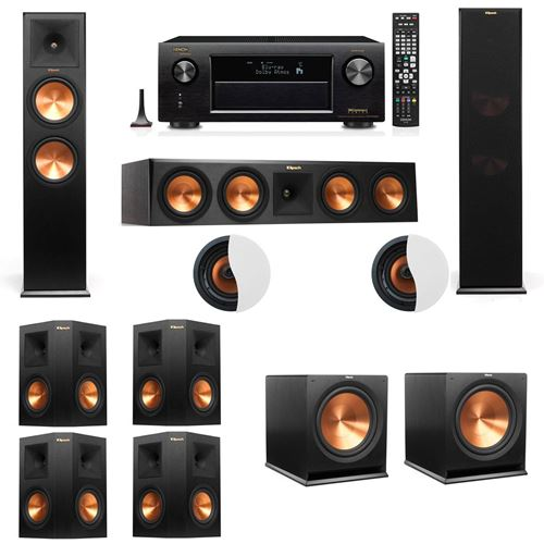 Dolby Atmos 7.2.2 Klipsch RP-280F Tower Speakers R115SW with Denon AVR-X4100W