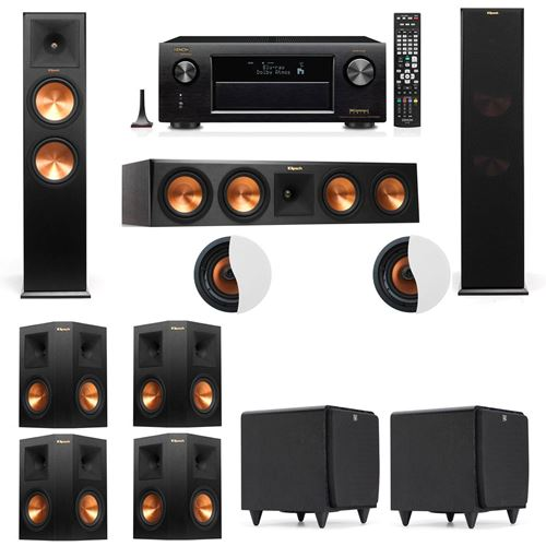 Dolby Atmos 7.2.2 Klipsch RP-280F Tower Speakers SDS12 with Denon AVR-X4100W