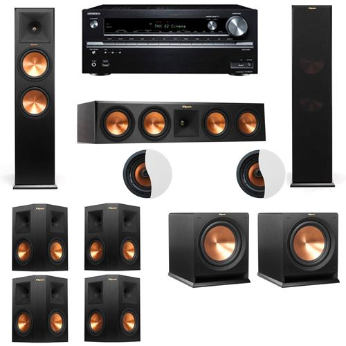 Dolby Atmos 7.2.2 Klipsch RP-280F Tower Speakers R112SW with Onkyo TX-NR838