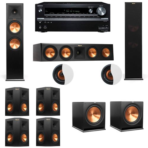 Dolby Atmos 7.2.2 Klipsch RP-280F Tower Speakers R115SW with Onkyo TX-NR838