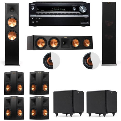 Dolby Atmos 7.2.2 Klipsch RP-280F Tower Speakers SDS12 with Onkyo TX-NR838