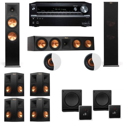 Dolby Atmos 7.2.2 Klipsch RP-280F Tower Speakers SW-112 with Onkyo TX-NR838