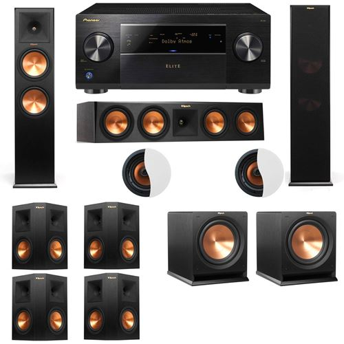 Dolby Atmos 7.2.2 Klipsch RP-280F Tower Speakers R112SW with Pioneer Elite SC-85