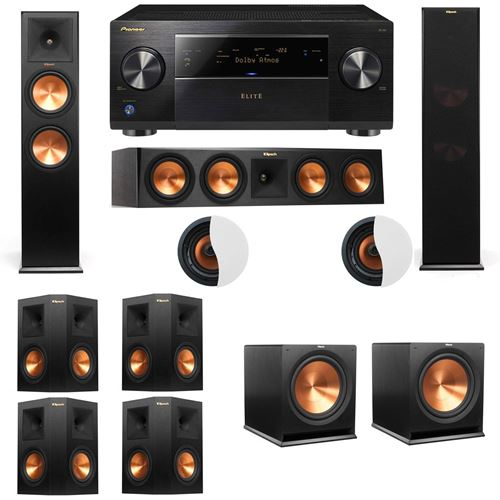Dolby Atmos 7.2.2 Klipsch RP-280F Tower Speakers R115SW with Pioneer Elite SC-85