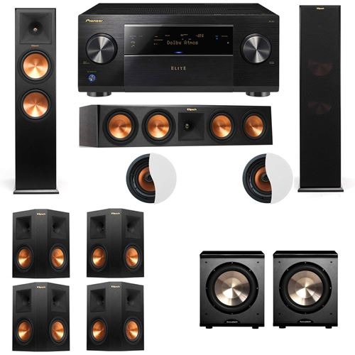 Dolby Atmos 7.2.2 Klipsch RP-280F Tower Speakers PL-200 with Pioneer Elite SC-85