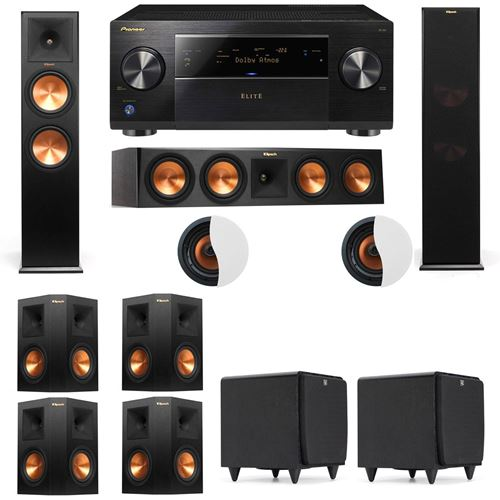 Dolby Atmos 7.2.2 Klipsch RP-280F Tower Speakers SDS12 with Pioneer Elite SC-85