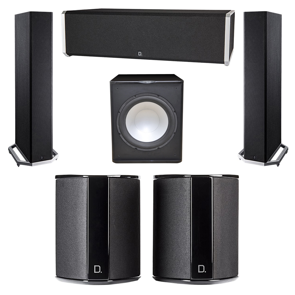 Definitive Technology 5.1 System with 2 BP9020 Tower Speakers, 1 CS9040 Center Channel Speaker, 2 SR9040 Surround Speaker, 1 Premier Acoustic PA-150 Subwoofer