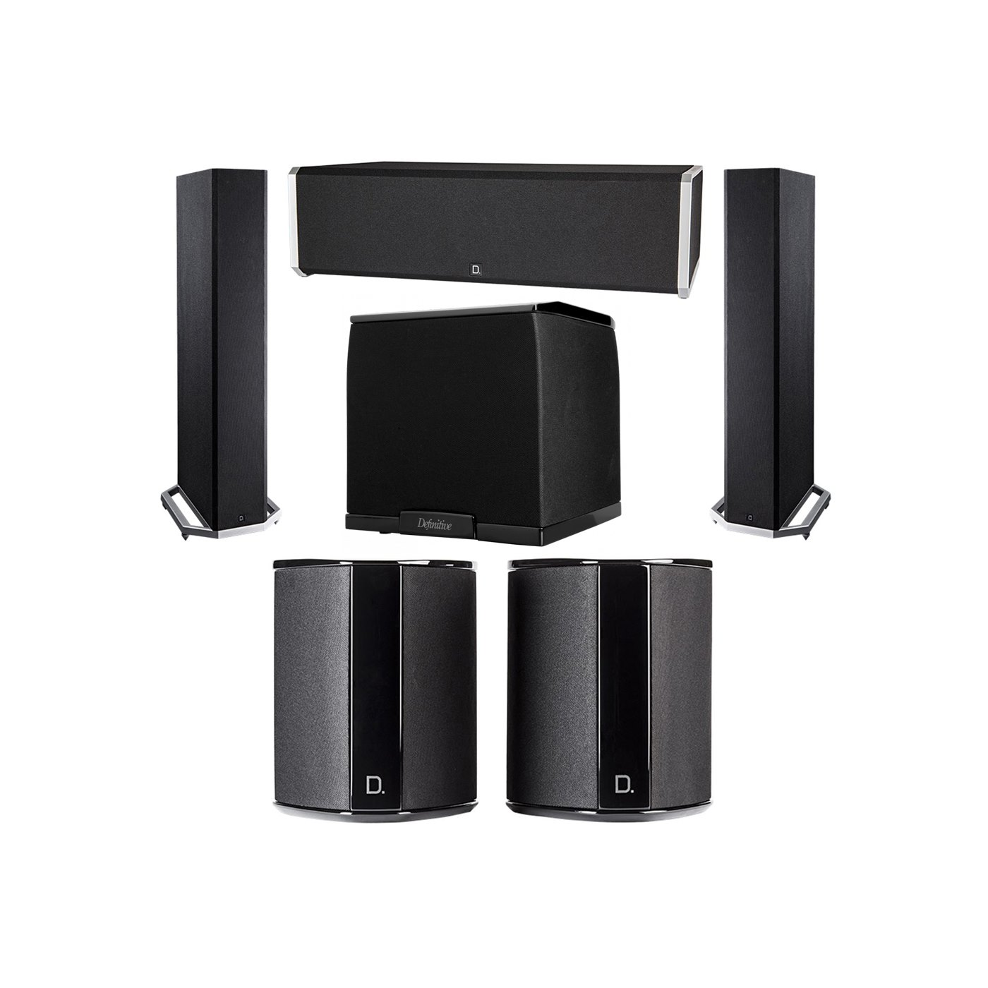 Definitive Technology 5.1 System with 2 BP9020 Tower Speakers, 1 CS9040 Center Channel Speaker, 2 SR9040 Surround Speaker, 1 Definitive Technology SuperCube 2000 Powered Subwoofer