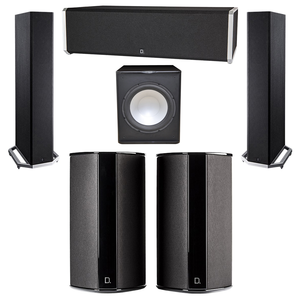 Definitive Technology 5.1 System with 2 BP9020 Tower Speakers, 1 CS9040 Center Channel Speaker, 2 SR9080 Surround Speaker, 1 Premier Acoustic PA-150 Subwoofer