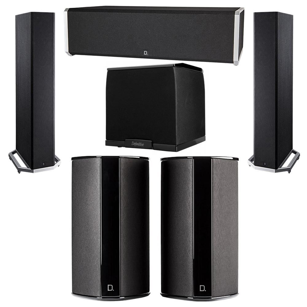 Definitive Technology 5.1 System with 2 BP9020 Tower Speakers, 1 CS9040 Center Channel Speaker, 2 SR9080 Surround Speaker, 1 Definitive Technology SuperCube 2000 Powered Subwoofer