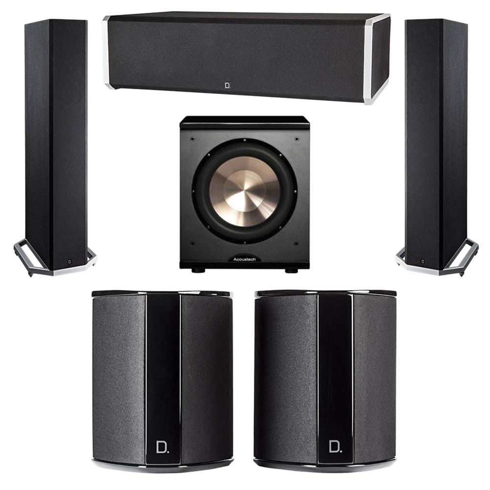 Definitive Technology 5.1 System with 2 BP9020 Tower Speakers, 1 CS9060 Center Channel Speaker, 2 SR9040 Surround Speaker, 1 BIC PL-200 Subwoofer