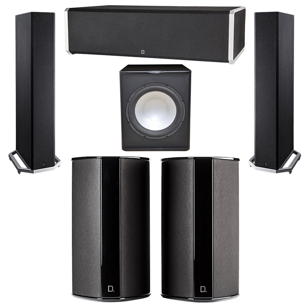 Definitive Technology 5.1 System with 2 BP9020 Tower Speakers, 1 CS9060 Center Channel Speaker, 2 SR9080 Surround Speaker, 1 Premier Acoustic PA-150 Subwoofer