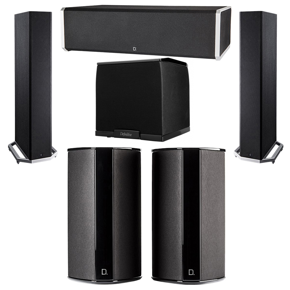 Definitive Technology 5.1 System with 2 BP9020 Tower Speakers, 1 CS9060 Center Channel Speaker, 2 SR9080 Surround Speaker, 1 Definitive Technology SuperCube 2000 Powered Subwoofer