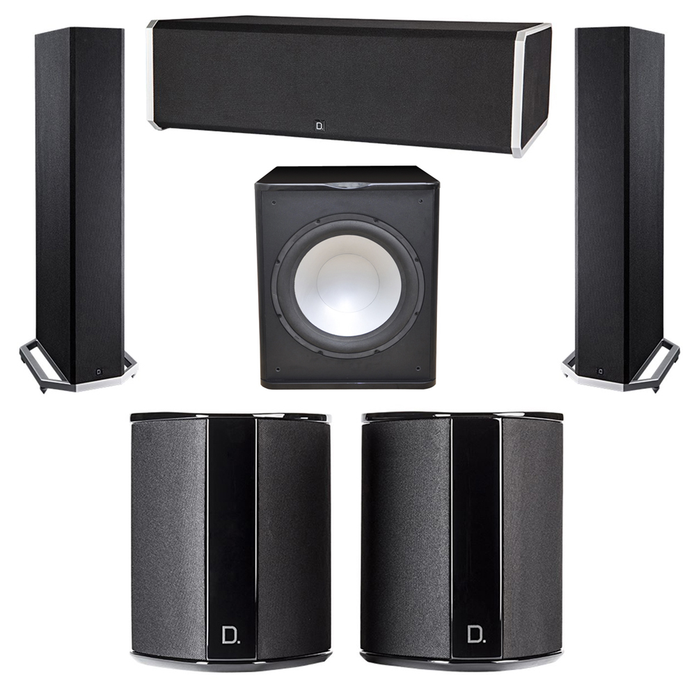 Definitive Technology 5.1 System with 2 BP9020 Tower Speakers, 1 CS9080 Center Channel Speaker, 2 SR9040 Surround Speaker, 1 Premier Acoustic PA-150 Subwoofer