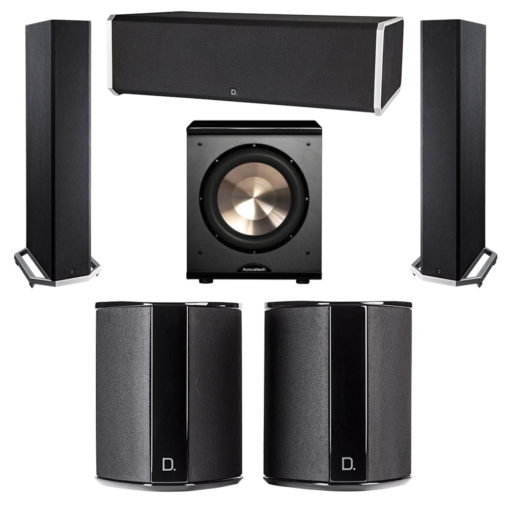Definitive Technology 5.1 System with 2 BP9020 Tower Speakers, 1 CS9080 Center Channel Speaker, 2 SR9040 Surround Speaker, 1 BIC PL-200 Subwoofer
