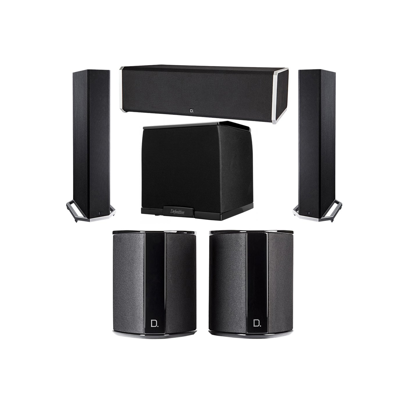 Definitive Technology 5.1 System with 2 BP9020 Tower Speakers, 1 CS9080 Center Channel Speaker, 2 SR9040 Surround Speaker, 1 Definitive Technology SuperCube 2000 Powered Subwoofer