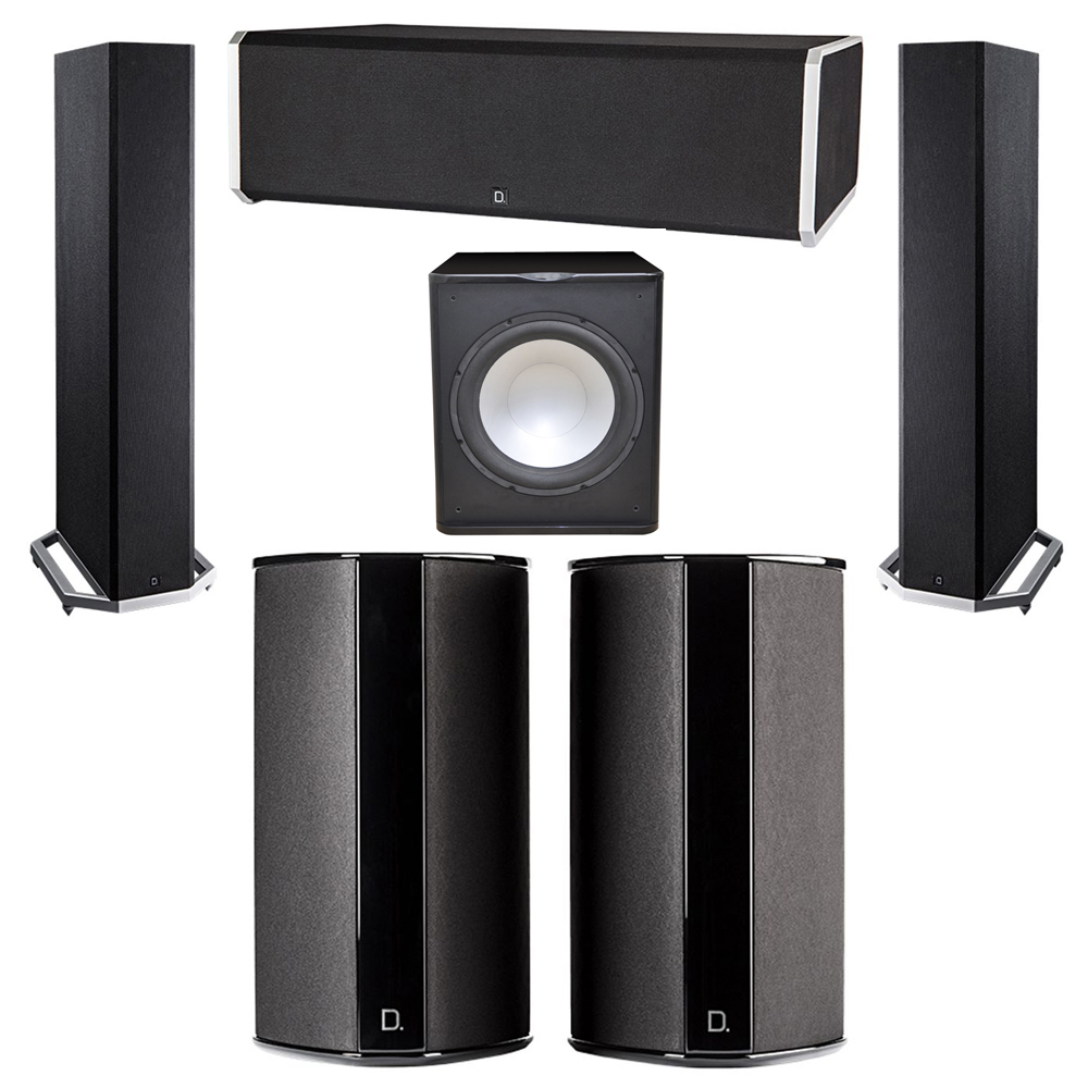 Definitive Technology 5.1 System with 2 BP9020 Tower Speakers, 1 CS9080 Center Channel Speaker, 2 SR9080 Surround Speaker, 1 Premier Acoustic PA-150 Subwoofer