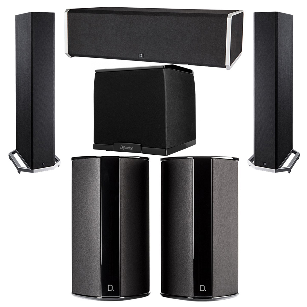 Definitive Technology 5.1 System with 2 BP9020 Tower Speakers, 1 CS9080 Center Channel Speaker, 2 SR9080 Surround Speaker, 1 Definitive Technology SuperCube 2000 Powered Subwoofer