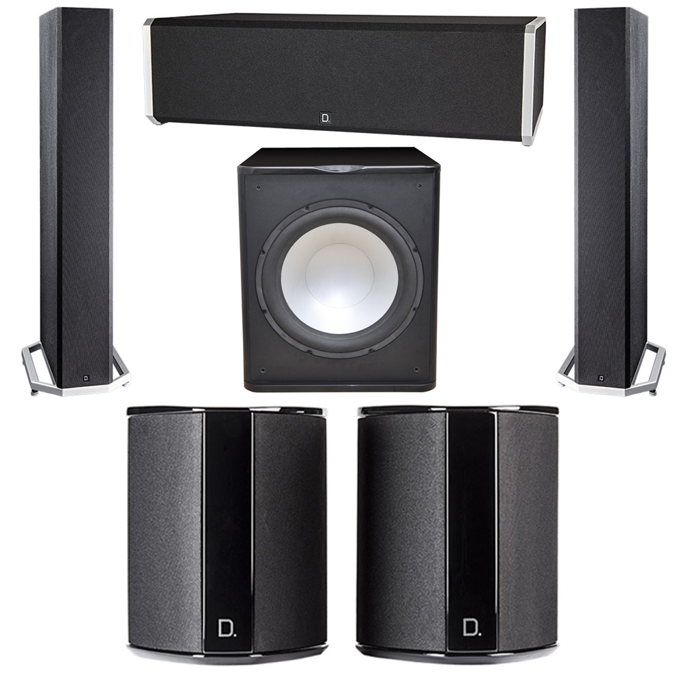 Definitive Technology 5.1 System with 2 BP9040 Tower Speakers, 1 CS9040 Center Channel Speaker, 2 SR9040 Surround Speaker, 1 Premier Acoustic PA-150 Subwoofer