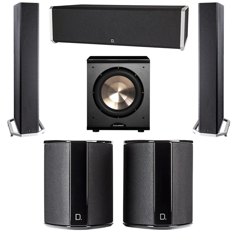 Definitive Technology 5.1 System with 2 BP9040 Tower Speakers, 1 CS9040 Center Channel Speaker, 2 SR9040 Surround Speaker, 1 BIC PL-200 Subwoofer