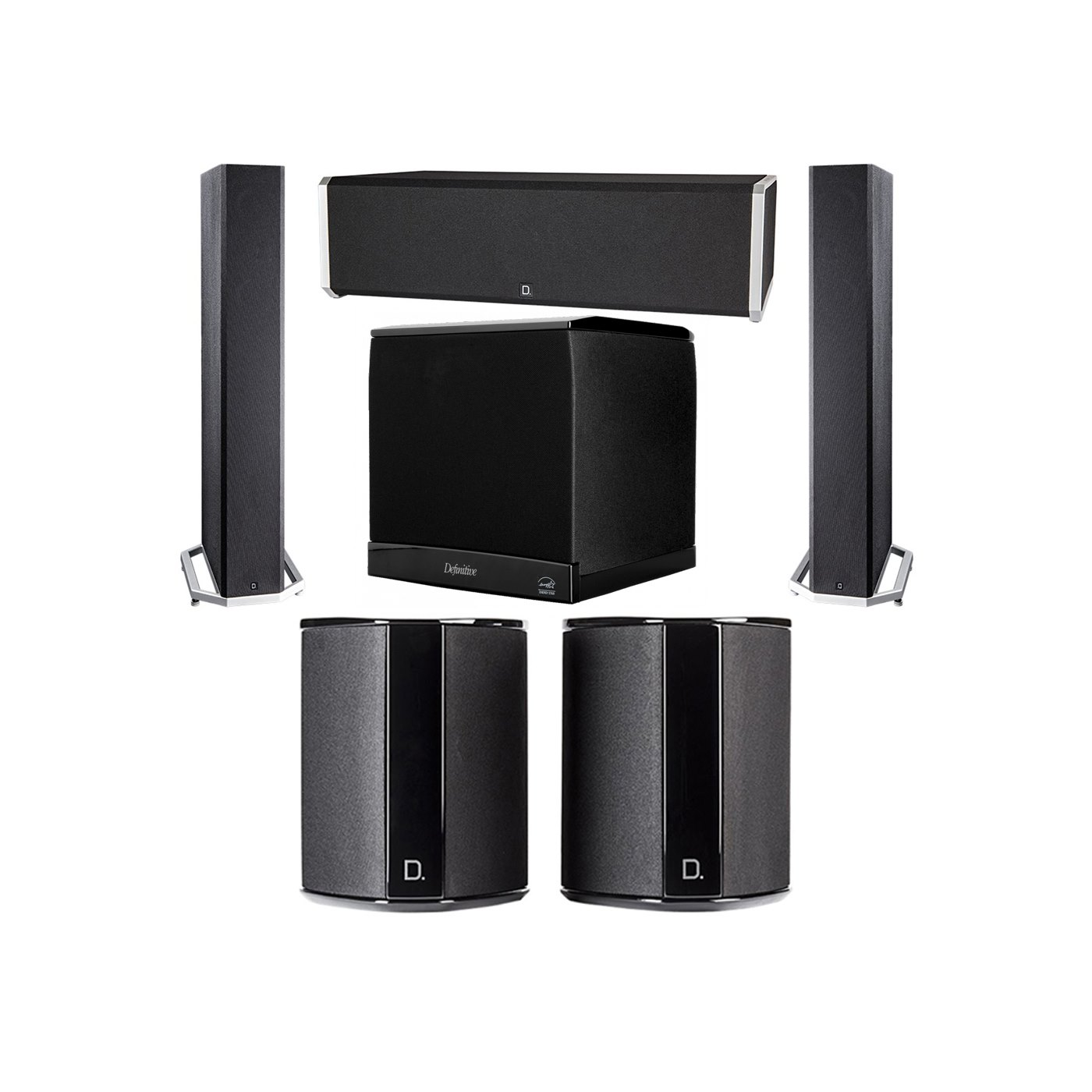 Definitive Technology 5.1 System with 2 BP9040 Tower Speakers, 1 CS9040 Center Channel Speaker, 2 SR9040 Surround Speaker, 1 Definitive Technology SuperCube 4000 Powered Subwoofer