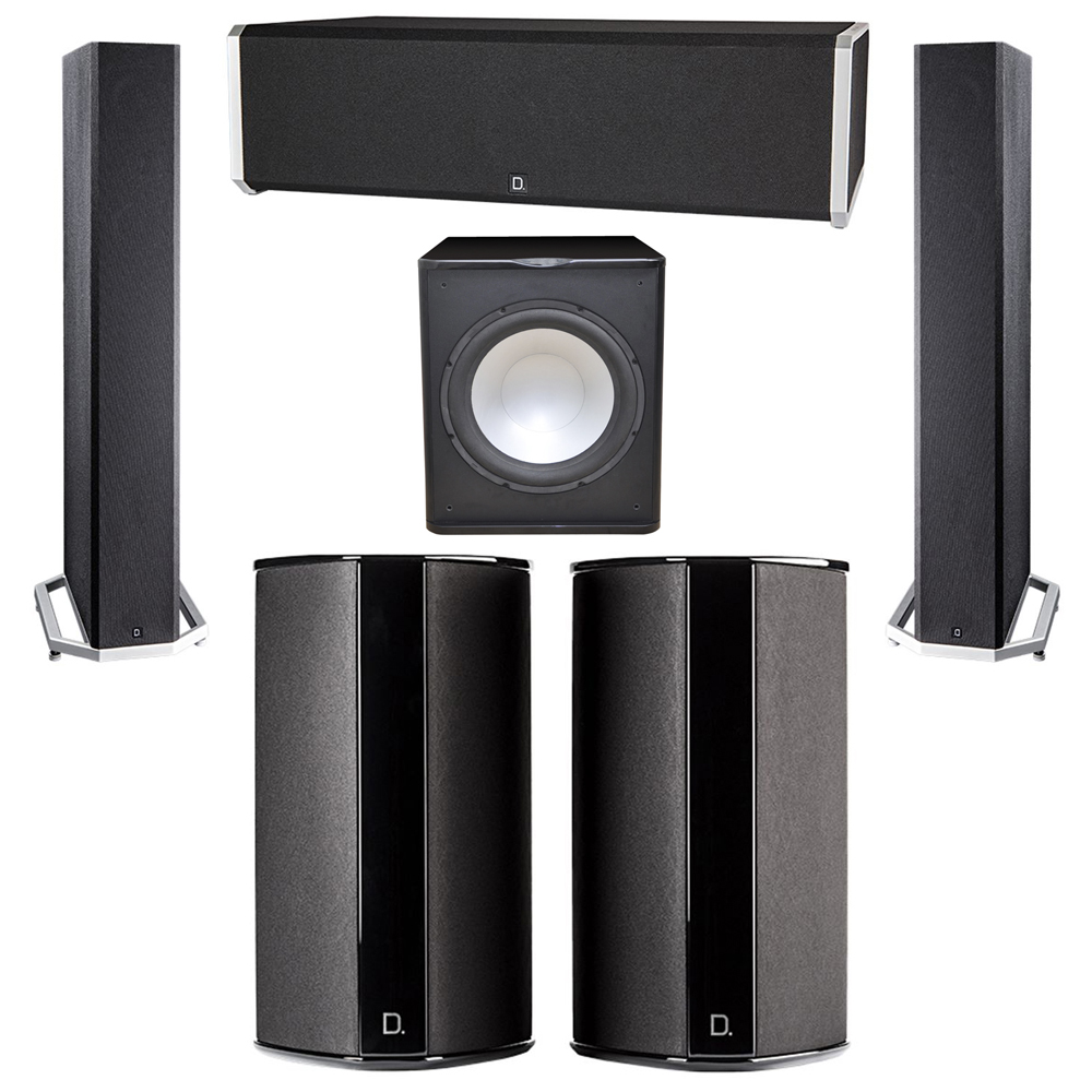 Definitive Technology 5.1 System with 2 BP9040 Tower Speakers, 1 CS9040 Center Channel Speaker, 2 SR9080 Surround Speaker, 1 Premier Acoustic PA-150 Subwoofer