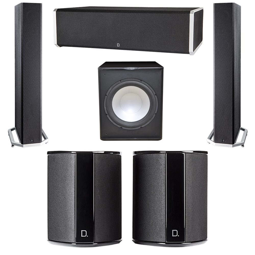 Definitive Technology 5.1 System with 2 BP9040 Tower Speakers, 1 CS9060 Center Channel Speaker, 2 SR9040 Surround Speaker, 1 Premier Acoustic PA-150 Subwoofer