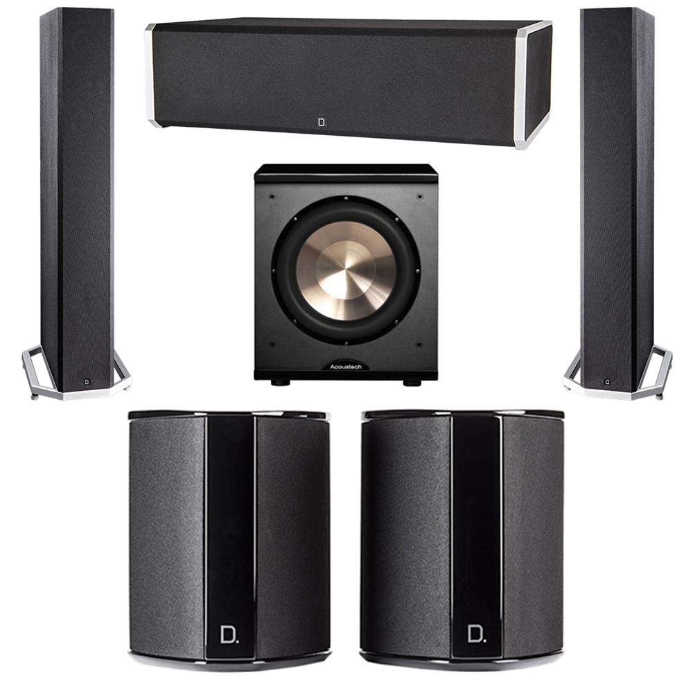 Definitive Technology 5.1 System with 2 BP9040 Tower Speakers, 1 CS9060 Center Channel Speaker, 2 SR9040 Surround Speaker, 1 BIC PL-200 Subwoofer