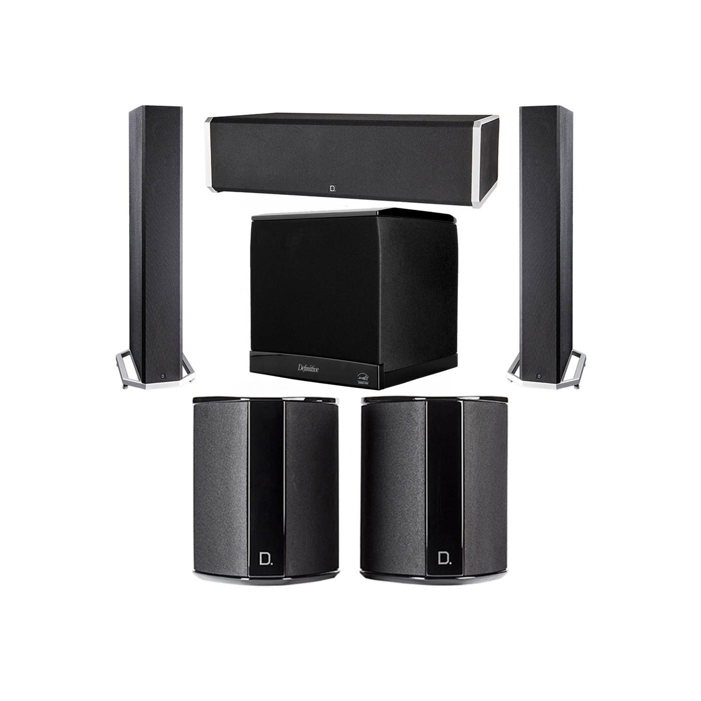 Definitive Technology 5.1 System with 2 BP9040 Tower Speakers, 1 CS9060 Center Channel Speaker, 2 SR9040 Surround Speaker, 1 Definitive Technology SuperCube 4000 Powered Subwoofer