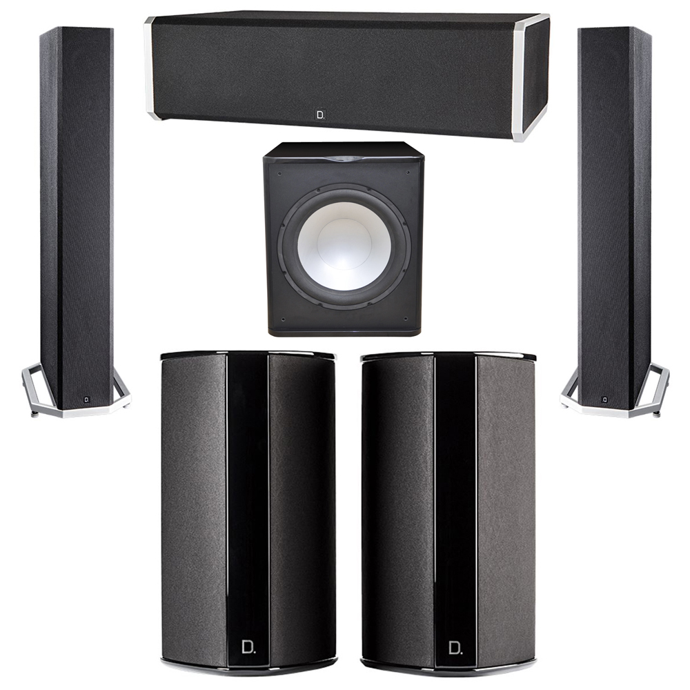 Definitive Technology 5.1 System with 2 BP9040 Tower Speakers, 1 CS9060 Center Channel Speaker, 2 SR9080 Surround Speaker, 1 Premier Acoustic PA-150 Subwoofer