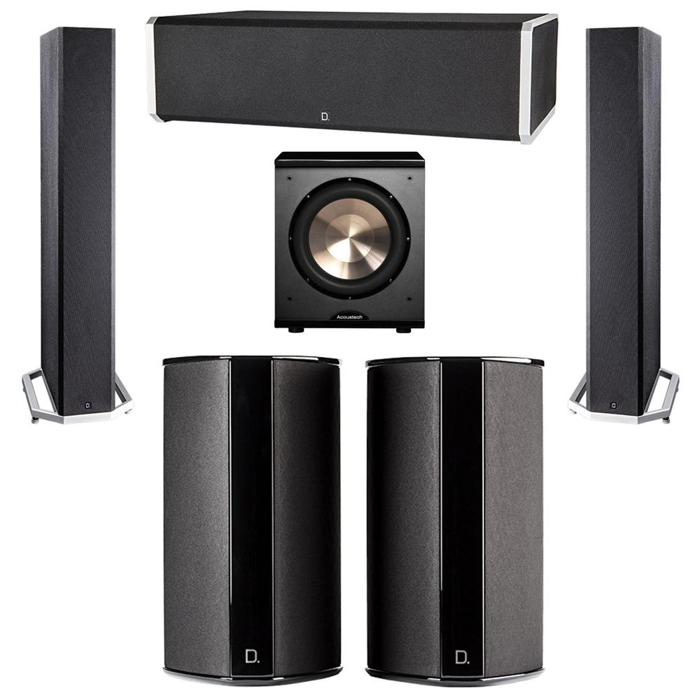 Definitive Technology 5.1 System with 2 BP9040 Tower Speakers, 1 CS9060 Center Channel Speaker, 2 SR9080 Surround Speaker, 1 BIC PL-200 Subwoofer