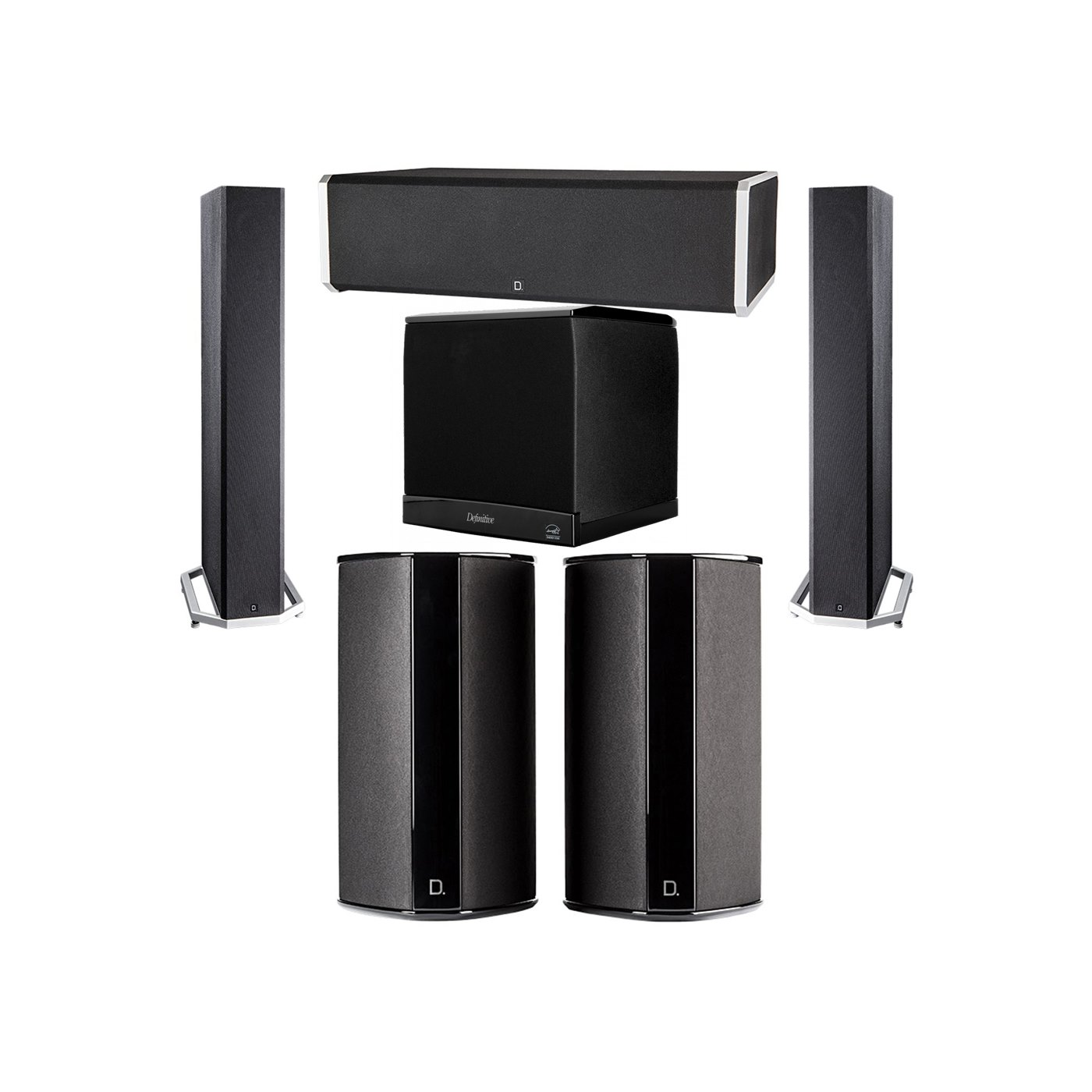 Definitive Technology 5.1 System with 2 BP9040 Tower Speakers, 1 CS9060 Center Channel Speaker, 2 SR9080 Surround Speaker, 1 Definitive Technology SuperCube 4000 Powered Subwoofer